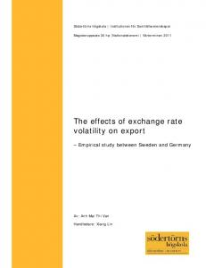 The effects of exchange rate volatility on export