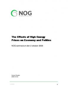 The Effects of High Energy Prices on Economy and Politics