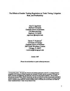 The Effects of Insider Trading Regulation on Trade Timing, Litigation Risk, and Profitability
