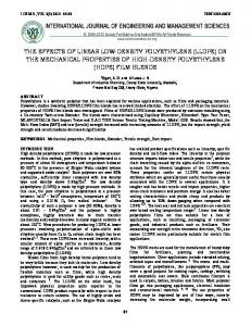 THE EFFECTS OF LINEAR LOW-DENSITY POLYETHYLENE (LLDPE) ON THE MECHANICAL PROPERTIES OF HIGH-DENSITY POLYETHYLENE (HDPE) FILM BLENDS