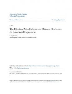 The Effects of Mindfulness and Distress Disclosure on Emotional Expression