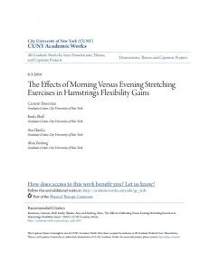 The Effects of Morning Versus Evening Stretching Exercises in Hamstrings Flexibility Gains