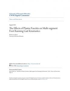 The Effects of Plantar Fasciitis on Multi-segment Foot Running Gait Kinematics