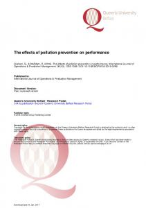 The effects of pollution prevention on performance