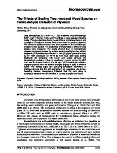 The Effects of Sealing Treatment and Wood Species on Formaldehyde Emission of Plywood
