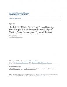 The Effects of Static Stretching Versus Dynamic Stretching on Lower Extremity Joint Range of Motion, Static Balance, and Dynamic Balance
