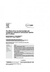 The effects of two non-pharmacologic pain management methods for intramuscular injection pain in children