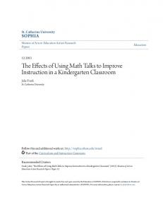 The Effects of Using Math Talks to Improve Instruction in a Kindergarten Classroom