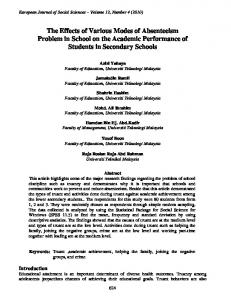 The Effects of Various Modes of Absenteeism Problem in School on the Academic Performance of Students in Secondary Schools