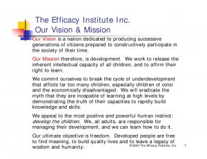 The Efficacy Institute Inc. Our Vision & Mission
