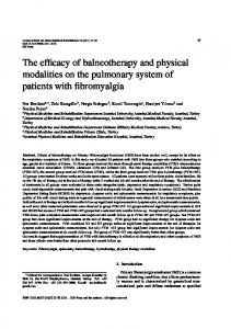 The efficacy of balneotherapy and physical modalities on the pulmonary system of patients with fibromyalgia