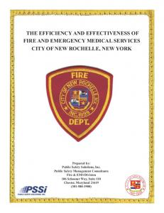 THE EFFICIENCY AND EFFECTIVENESS OF FIRE AND EMERGENCY MEDICAL SERVICES CITY OF NEW ROCHELLE, NEW YORK