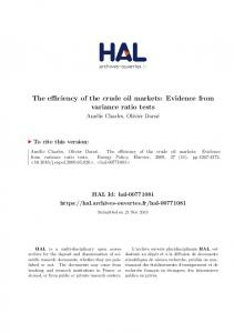 The efficiency of the crude oil markets: Evidence from variance ratio tests