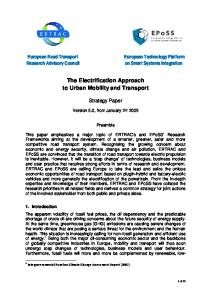 The Electrification Approach to Urban Mobility and Transport