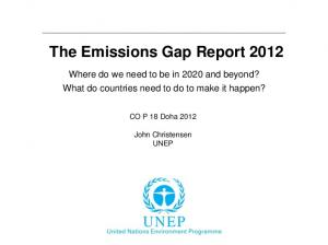 The Emissions Gap Report 2012
