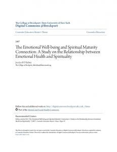 The Emotional Well-being and Spiritual Maturity Connection: A Study on the Relationship between Emotional Health and Spirituality