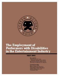 The Employment of Performers with Disabilities in the Entertainment Industry