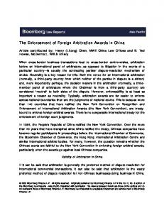 The Enforcement of Foreign Arbitration Awards in China