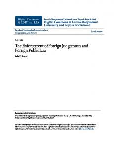 The Enforcement of Foreign Judgements and Foreign Public Law