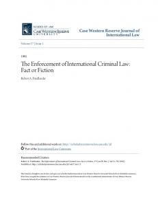 The Enforcement of International Criminal Law: Fact or Fiction