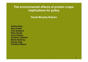 The environmental effects of protein crops: implications for policy