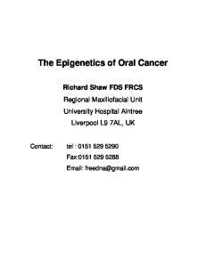 The Epigenetics of Oral Cancer