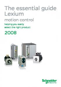The essential guide Lexium. motion control helping you easily select the right product