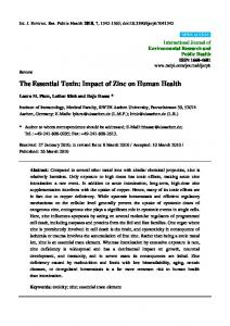 The Essential Toxin: Impact of Zinc on Human Health