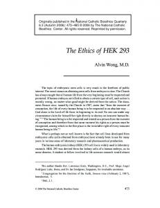 The Ethics of HEK 293