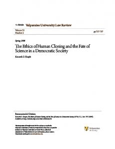 The Ethics of Human Cloning and the Fate of Science in a Democratic Society