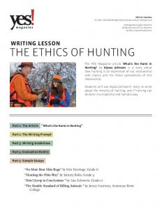 THE ETHICS OF HUNTING