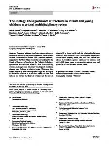 The etiology and significance of fractures in infants and young children: a critical multidisciplinary review