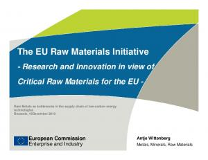 The EU Raw Materials Initiative