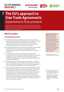 The EU s approach to Free Trade Agreements Government Procurement