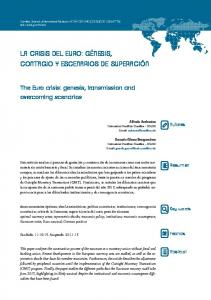 The Euro crisis: genesis, transmission and overcoming scenarios