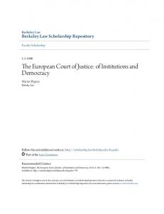 The European Court of Justice: of Institutions and Democracy