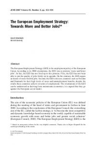 The European Employment Strategy: Towards More and Better Jobs?*