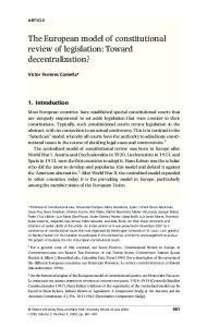The European model of constitutional review of legislation: Toward decentralization?