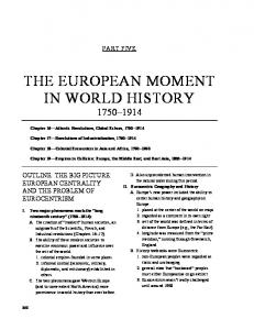 THE EUROPEAN MOMENT IN WORLD HISTORY