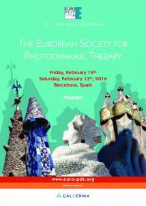 THE EUROPEAN SOCIETY FOR PHOTODYNAMIC THERAPY