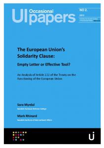 The European Union s Solidarity Clause: