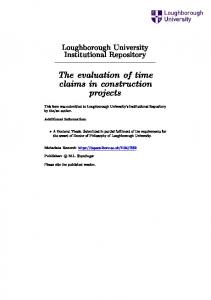 The evaluation of time claims in construction projects