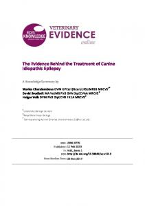 The Evidence Behind the Treatment of Canine Idiopathic Epilepsy