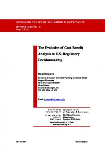 The Evolution of Cost-Benefit Analysis in U.S. Regulatory Decisionmaking
