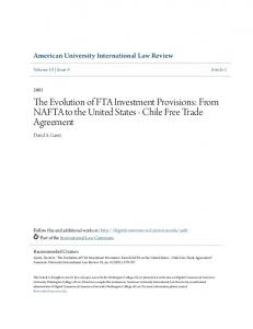 The Evolution of FTA Investment Provisions: From NAFTA to the United States - Chile Free Trade Agreement