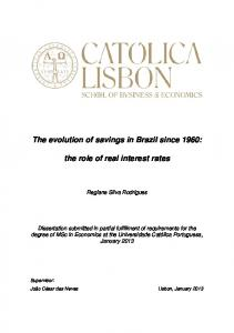 The evolution of savings in Brazil since 1960: the role of real interest rates