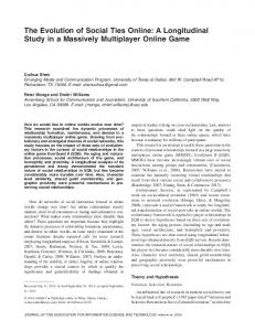 The Evolution of Social Ties Online: A Longitudinal Study in a Massively Multiplayer Online Game