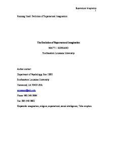 The Evolution of Supernatural Imagination MATT J. ROSSANO. Southeastern Louisiana University