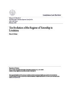 The Evolution of the Regime of Tutorship in Louisiana