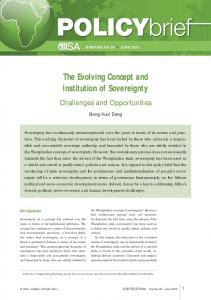 The Evolving Concept and Institution of Sovereignty